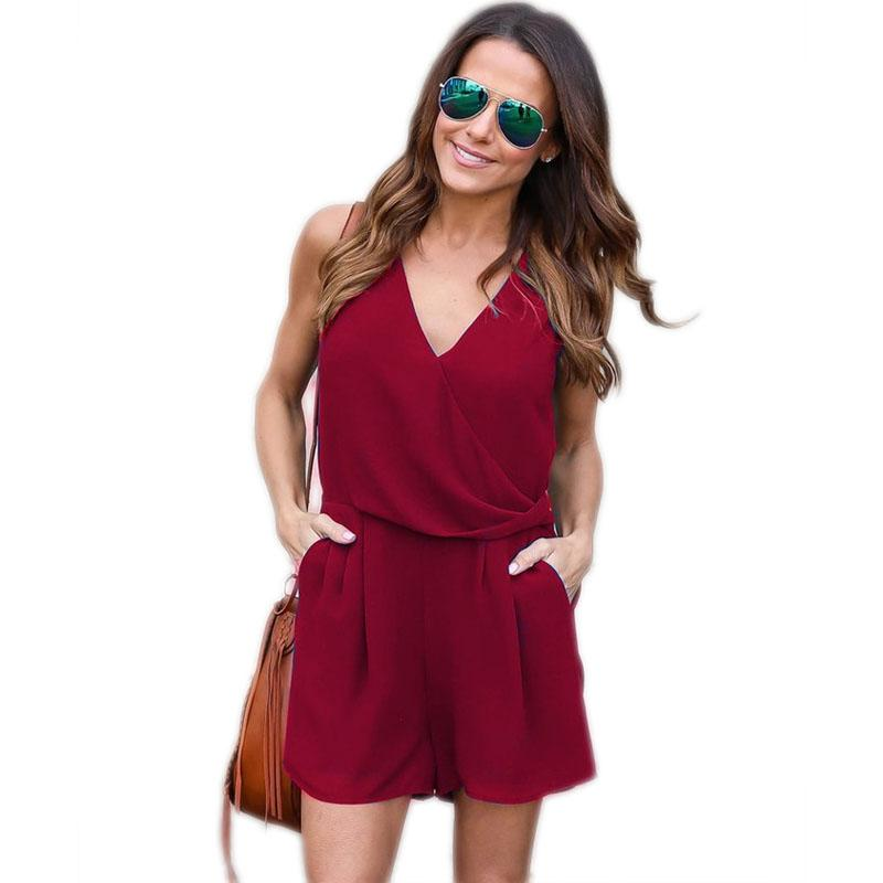 8956e96e052 2019 2018 Women Short Jumpsuits Rompers Summer V Neck Cold Shoulder Womens  Plus Size Solid Chiffon Short Rompers Macacaos Women Clothings From  Chalueng