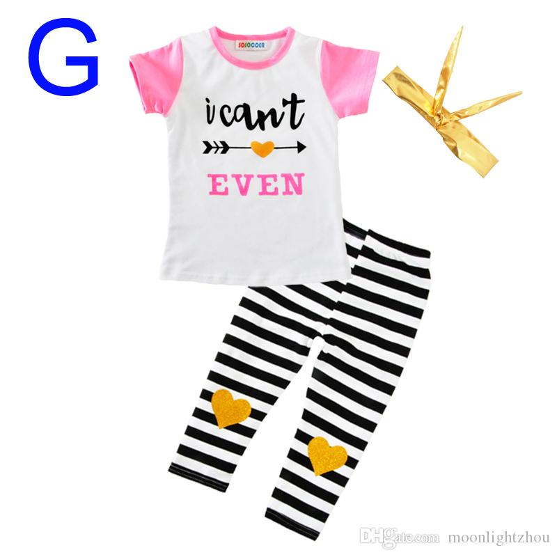 Girls Clothing Set New Summer Cute Letter Arrow Feather T Shirt+Polka Dot Stripe Pants+Bow Headband Kids Baby Girl Clothes Outfits