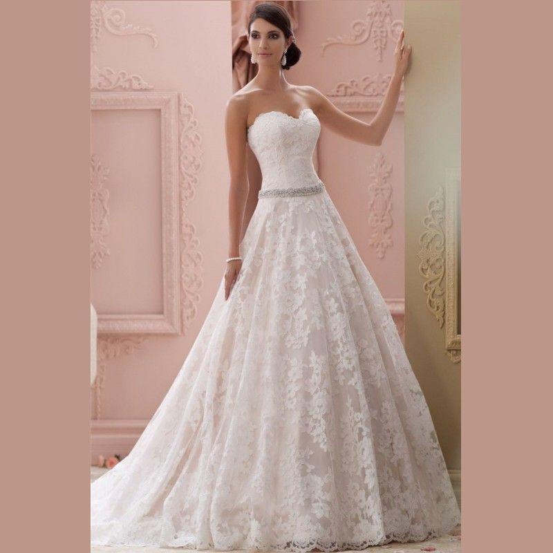 Compre 2017 Vestidos De Boda Blancos Elegantes Del Cordón De Los ...
