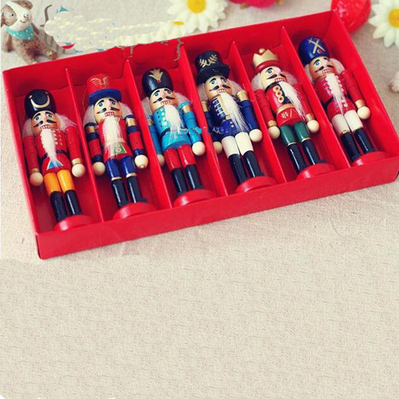 6pcs Nutcracker Puppet Zakka Creative Desktop Decoration 12.2cm Wood Made Christmas Ornaments Drawing Walnuts Soldiers Band Dolls