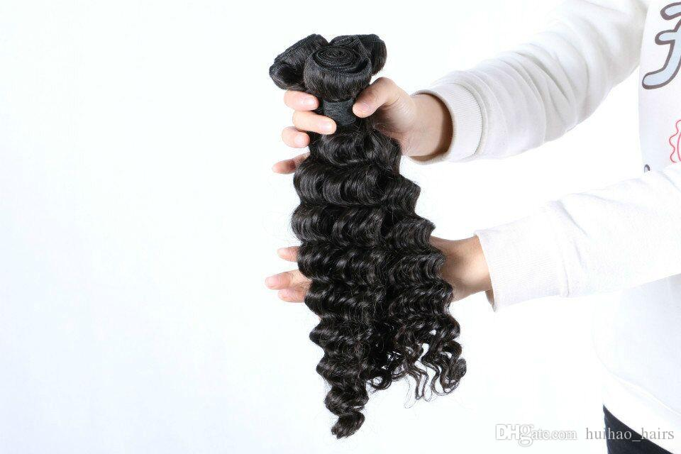 8A India Double Weft Dyeable Deep Wave Natural Color Hair Bundles Virgin Hair Products from huihao_hairs
