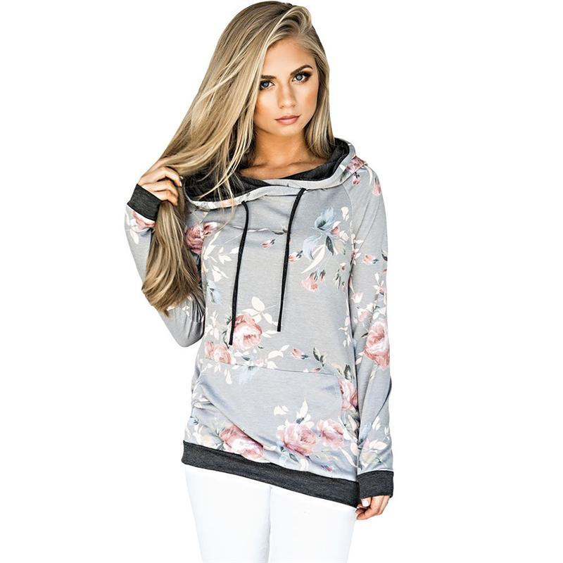 e4e3722ff26 2019 Autumn Women Casual Hooded Sweatshirts Floral Printed Street Pullover  Tops Shirt Women Long Sleeve Shirts Pocket Gray Street Wear Hoodies From ...