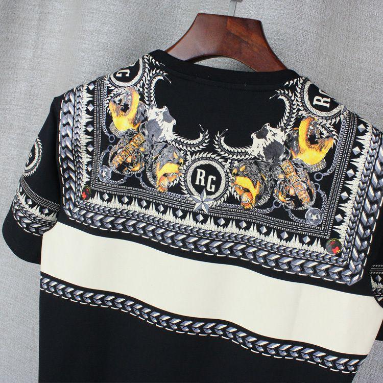 2017 ماركة أزياء الرجال القمصان الرجال قصيرة الأكمام قميص عارضة شيرت المحملة القمم رجل بأكمام قصيرة الكلب الطباعة