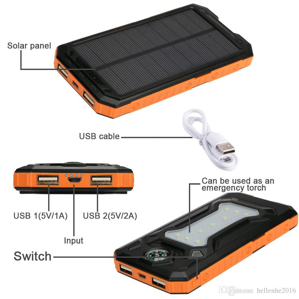 جديد مقاوم للماء مصرف الطاقة الشمسية 20000mah المزدوج USB شاحن بطارية ليثيوم بوليمر السفر Powerbank لجميع الهواتف