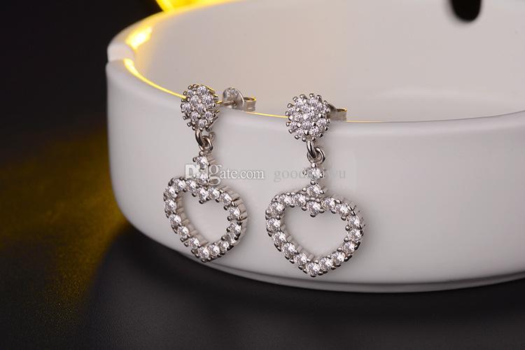 Moda brillare orecchini in argento 925 pieno di cristallo cuore amore ciondolo fascino orecchini le donne fine jewelry regalo di natale ed295