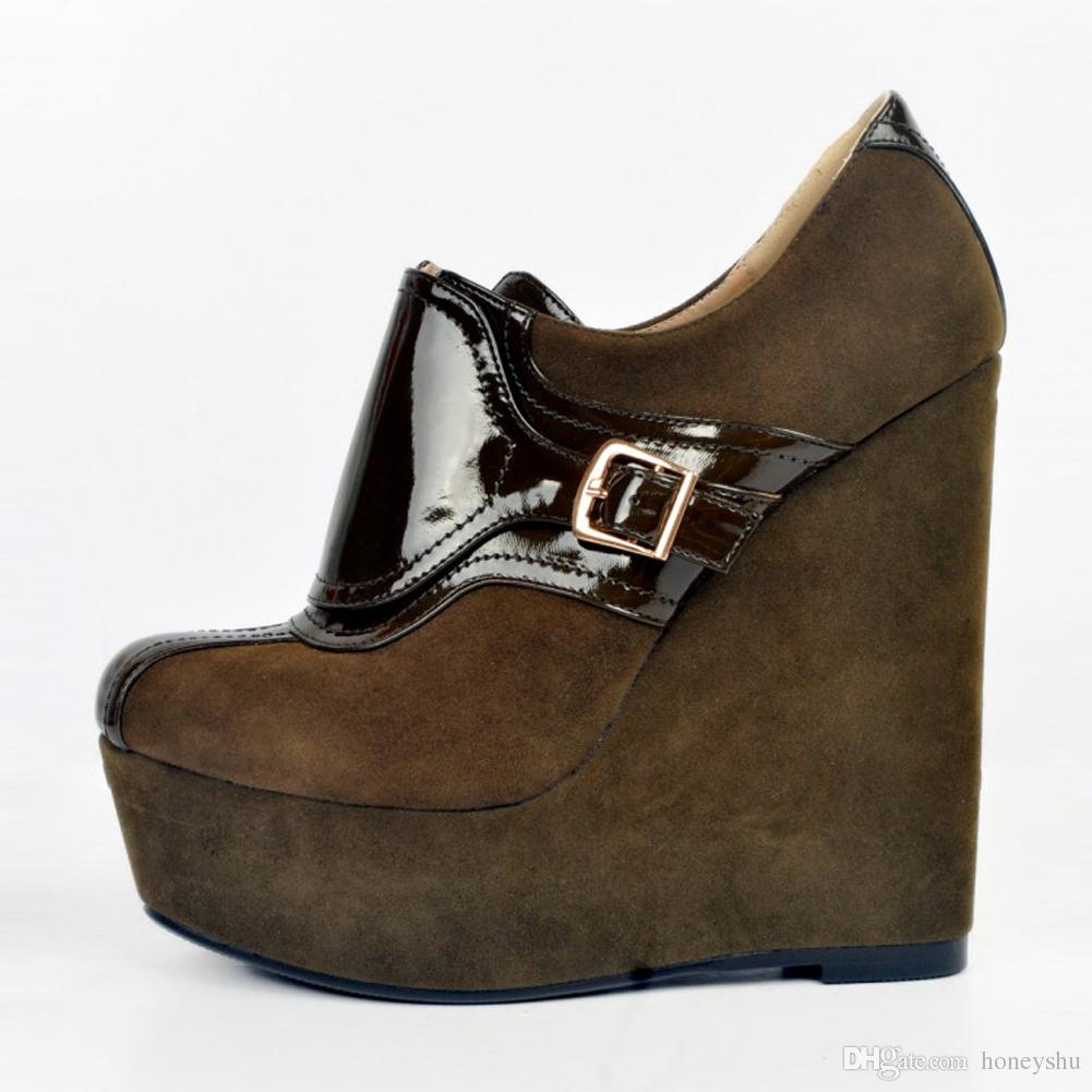 Kolnoo Womens Fashion Handmade 15cm Wadge High Heel Platform Buckles Closed Toe Pumps Shoes Deepbrown XD067