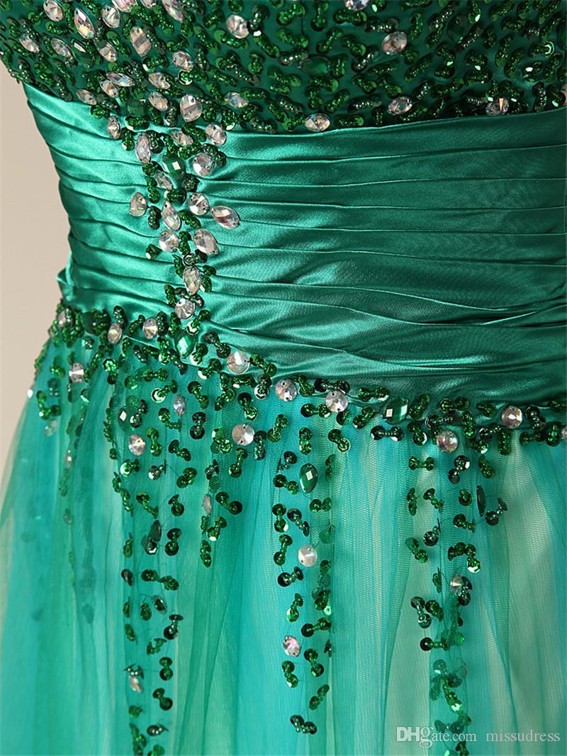 Sweetheart Paillettes Prom Dress A Line robe de soiree Drappeggiato Peat Verde formale abiti da sera Backless Abiti da sera Lungo
