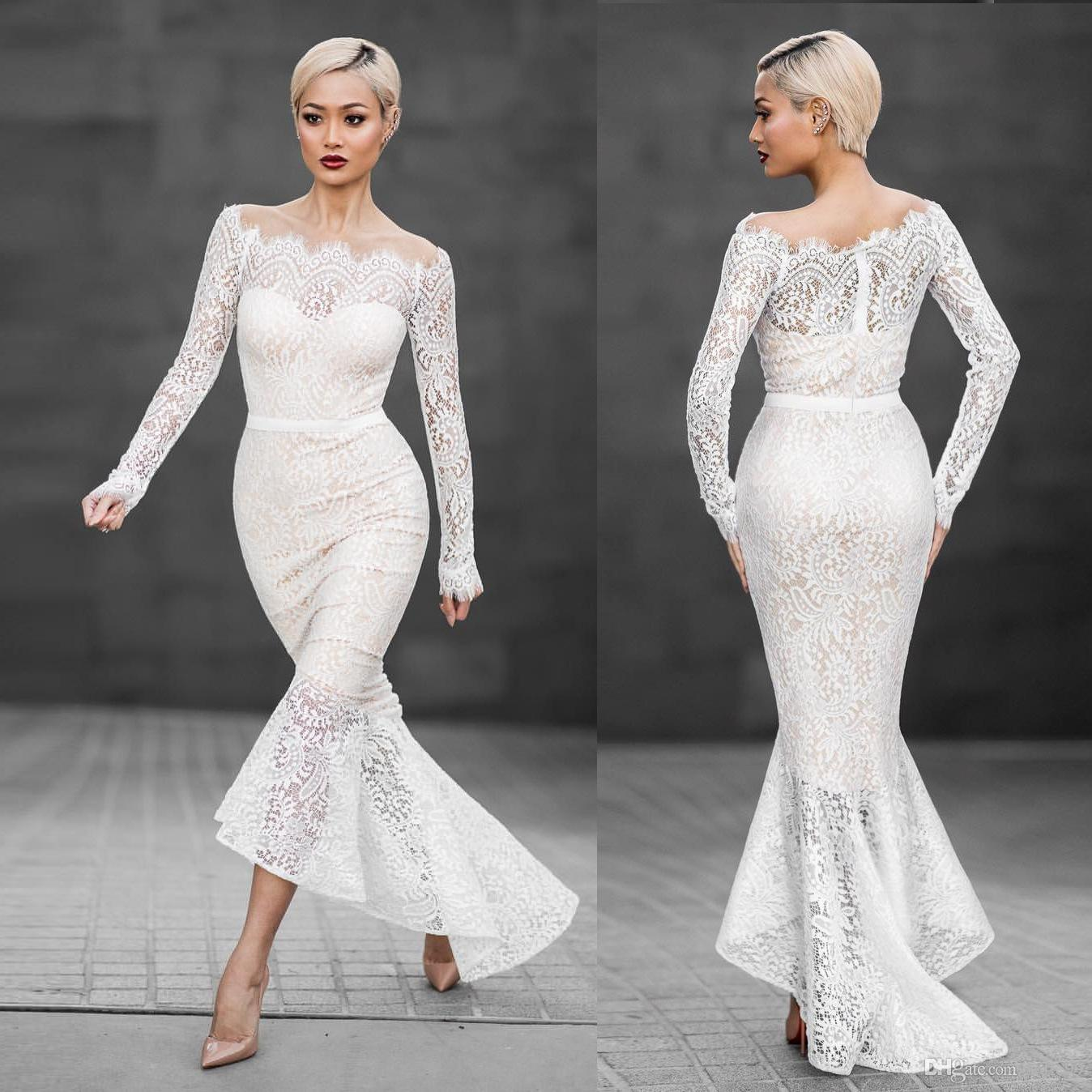 377a7dfe1c1 Off Shoulder White Lace Dress Women Long Sleeve Slash Neck Fishtail Elegant  Hollow Out Dinner Party Formal Dress Party Dresses Online with  23.95 Piece  on ...