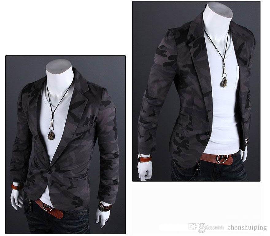 Горячие продажи камуфляж армия ветер мужчины одна кнопка блейзер костюм хлопок силм небольшой костюм досуг пальто куртка мужская одежда