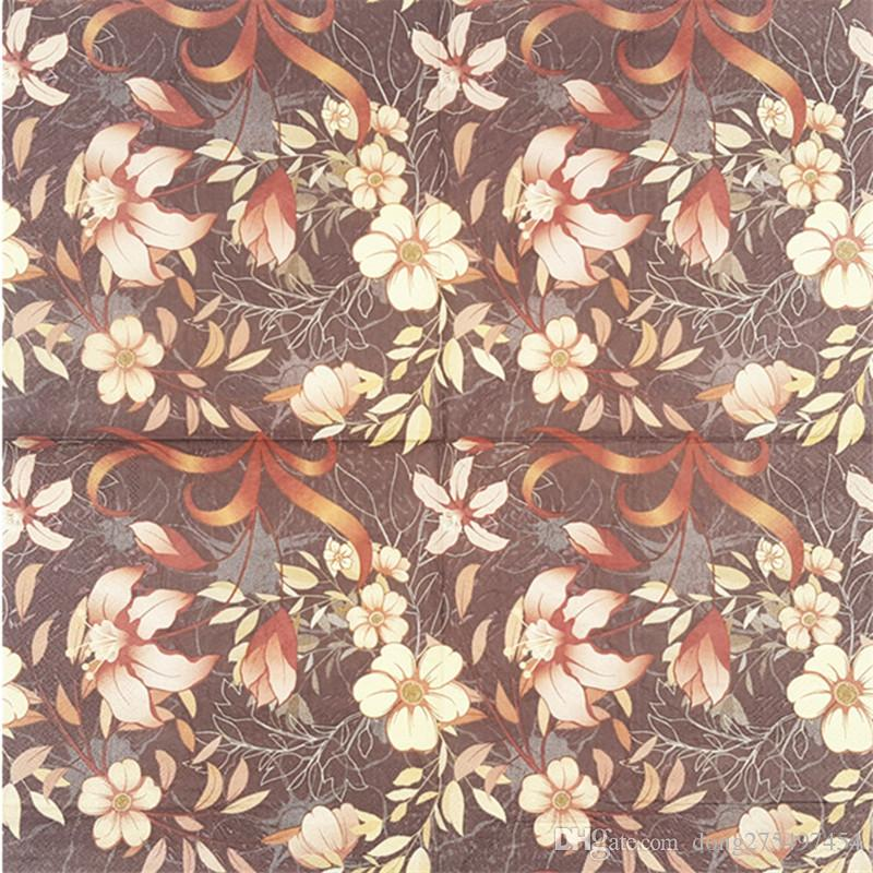 Cute Vintage Decoupage table Paper Napkin tissue gold flower brown color party cocktail festive towel decoration dinner Guardanapo serviette
