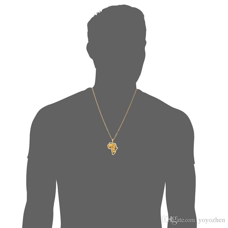 Afrika Elefant-Halskette 18K Gold überzogen für Mode modische Frauen Afrikanische Karte Halsketten-Anhänger Männer Schmuck