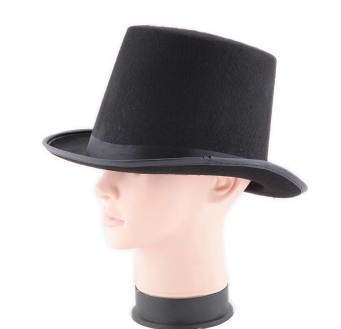 Sombrero de satén negro de fieltro mago caballero traje adulto de los años 20 esmoquin cap victoriano fiesta de Navidad de Halloween vestido de lujo sombreros superiores regalos