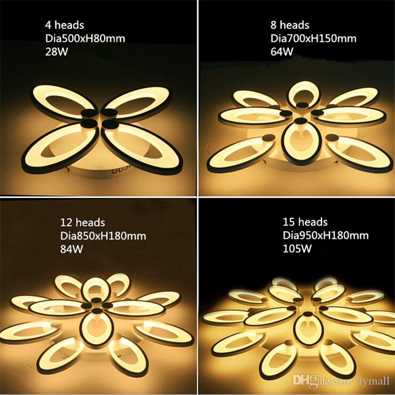 Pétales modernes Led Plafonniers Maison Salon Chambre Luminaire Moderne Acrylique LED Plafonnier Lampe Fleur Blooming Plafonniers