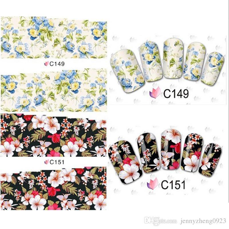 50 Sheets Flower Design Watermark Beauty Nail Art Tips Sticker Full