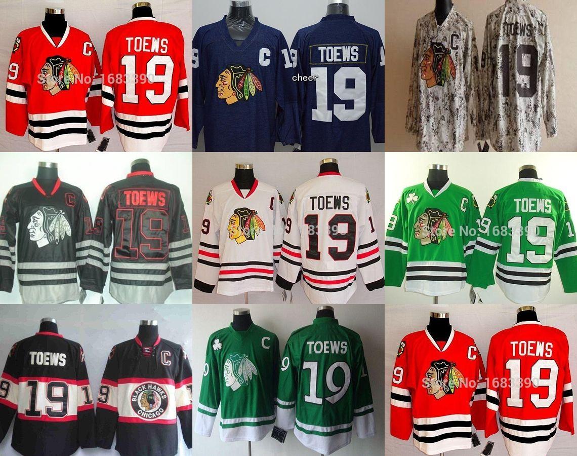 0c3366321 2016 Cheap Men's Chicago Blackhawks Jerseys #19 Jonathan Toews Jersey  Authentic Hockey Jerseys Red/Black/white/Green/Blue/Camo Top Quality 19 Jonathan  Toews ...