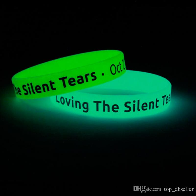 Wholesale drive loop bracelet engraving printing noctilucent wrist band rubber silicone strap midge unisex charm braceletD021