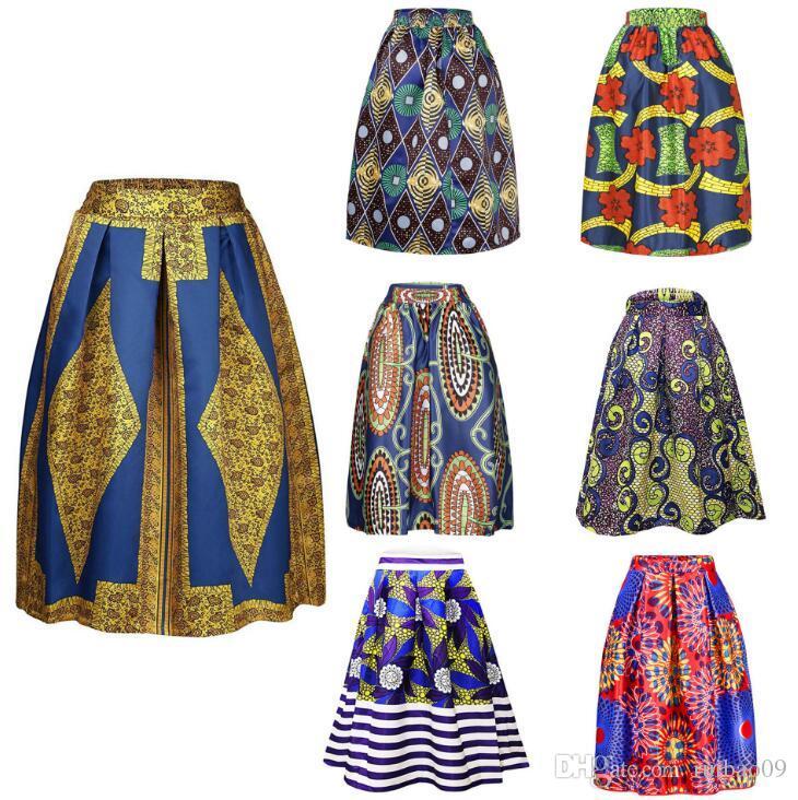 2019 Fashion Women African Print Long Skirt Ankara Dashiki High