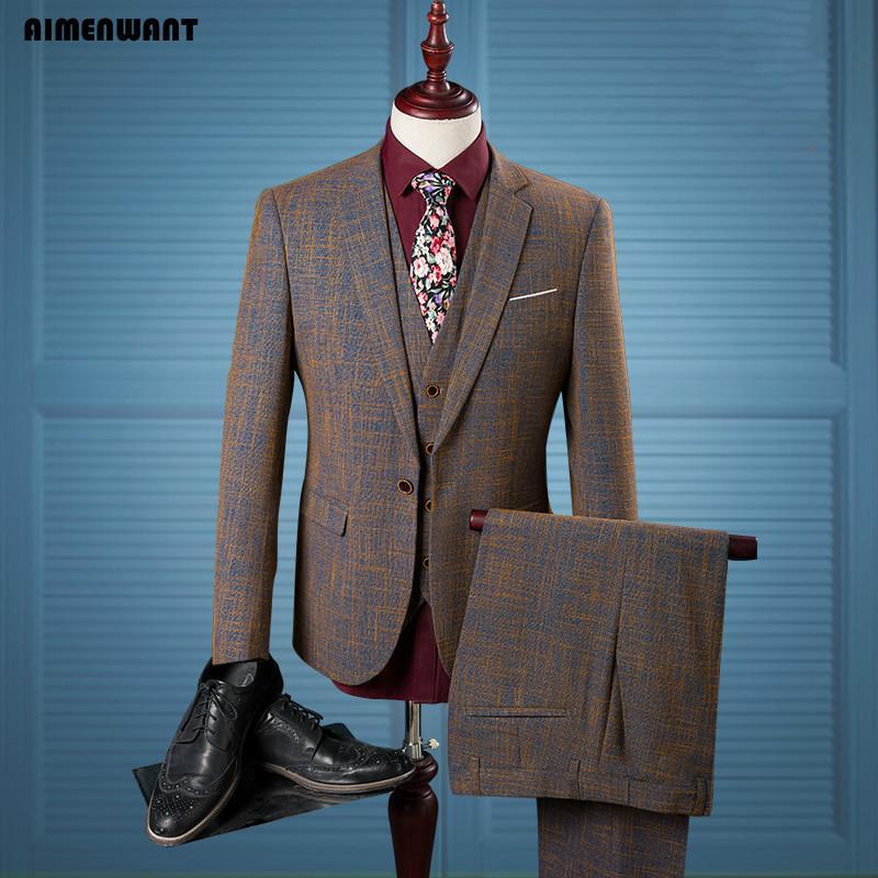 Wholesale- AIMENWANT Men\'s Prom Suit Set Linen Color Korea Slim Fit ...