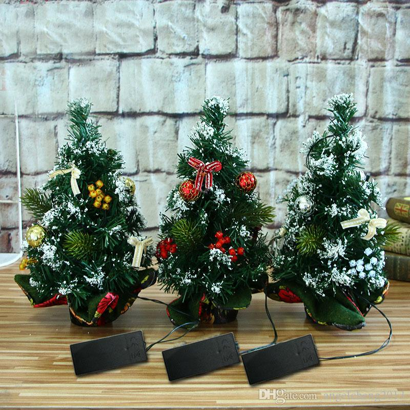 discount 30cm mini christmas tree with lights xmas decor desk table decoration festival desktop home party ornaments delivery without battery from china