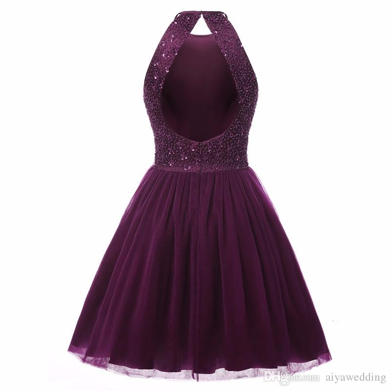 2019 New Sexy Keyhole Back Short Evening Dresses Real Photos Beads Sequins Purple Prom Party Cocktail Homecoming Gowns Vestido