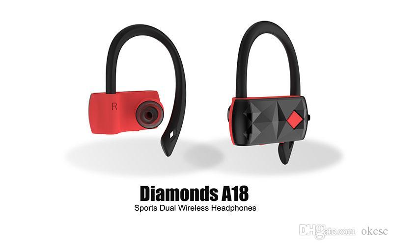 DHL Бесплатно A18 Алмазы Спорт Двойной Беспроводной Наушники TWS Наушники Handfree Стерео Bluetooth-гарнитура Мини-Наушники
