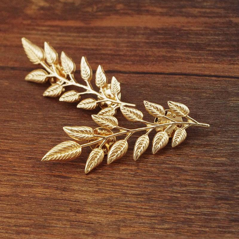 SHUANGR Wholesale Women's Fashion Brooches Leaves Collar Buttons Gold Color Pin Up Collar Shirt Accessories Jewelry