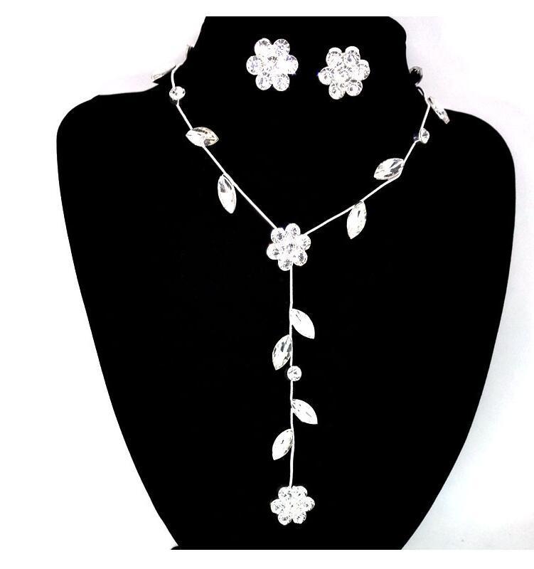 Elegante Flor Cristal Estrás Cadena Collar Pendiente Conjunto