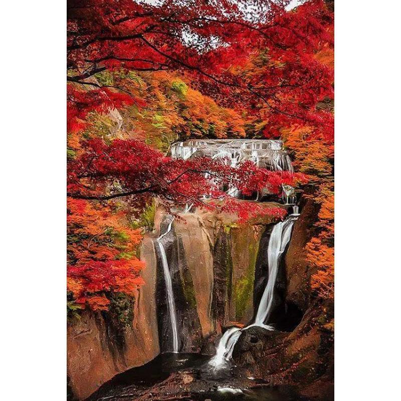 Satın Al Kırmızı Doğa Güzel Manzara Diy Elmas Boyama 5d Elmas Mozaik