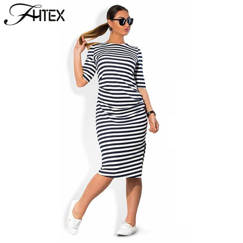 Women Plus Size Shift Dress Fashion Elegant Brief Striped Half