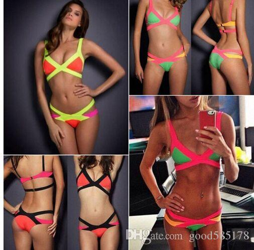 c14d41364dc 2017 Women Swimwear Push Up Swimsuit Hot Sale Bikinis Set Cheap Bandage  Swimsuit Brand Biquini Red White Black Patchwork Tankini Online with  12.56  Piece on ...