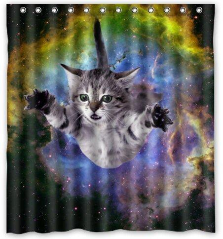 2019 Space Cat Water Proof Polyester Fabric 66 X 72 Shower Curtain From Littleman913 402