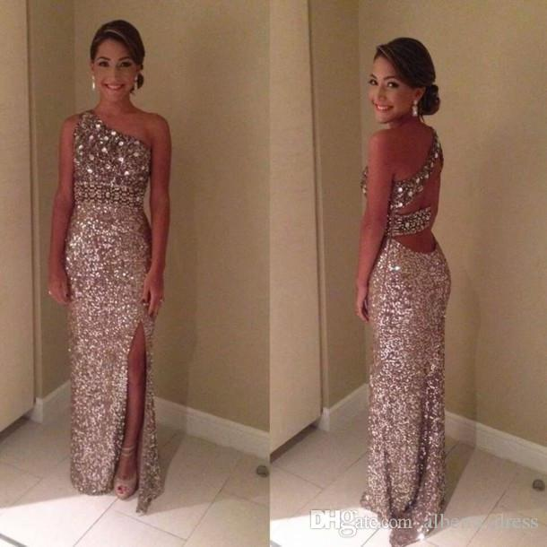New Sparkly Glitter Prom Dresses Sequin Sexy One Shoulder Crystal Sequin Backless Front Slit Evening Dresses