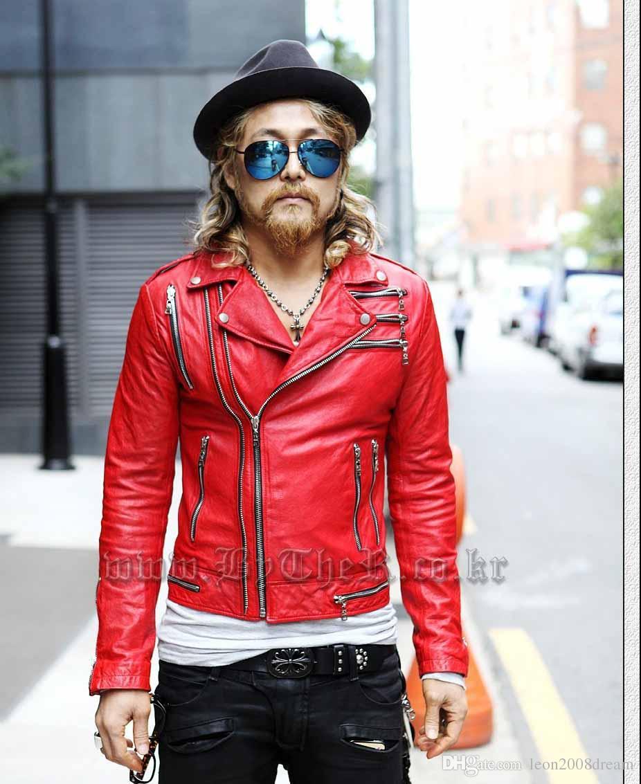 2016 Hot Items manteau de mode rouge à glissière vestes en cuir de conception courte vêtements de plein air manteaux