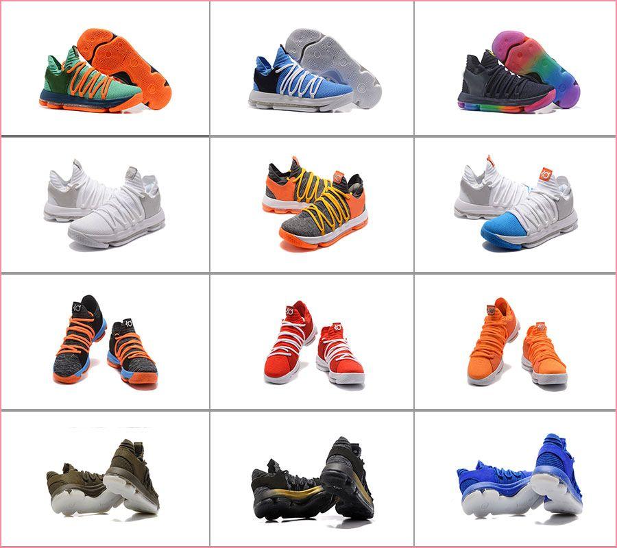 Erkekler Kevin Durant 10 Oreo Hala Yıldönümü turuncu mavi Basketbol Ayakkabı Sneakers Erkekler Ayakkabı Spor KD 10 s Sıçrama Airs Yastık Spor Sneakers