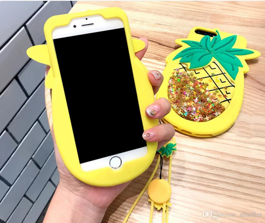 3D abacaxi bonito Brilho Líquido areia movediça case de silicone estrelas dos desenhos animados sparkle tampa de silicone macio com corrente para o iphone 7 6 6 S plus 7 PLUS