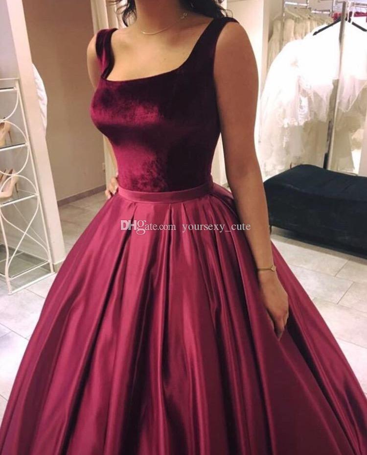 Burgundy Red Ball Gown Prom Dresses Square Neck Sleeveless Velvet Satin Custom Made Simple Quinceanera Dresses Sweet 16 Gowns Sweep Train
