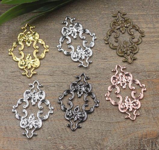 07498 23*36mm antique bronze silver rose gold gun black filigree flower charms for jewelry making, tibetan necklace pendants for bracelet