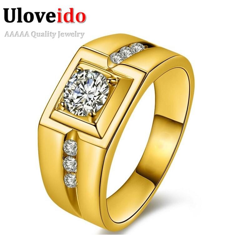 2018 Uloveido Gold Plated Silver Cz Diamond Wedding Male Rings For ...