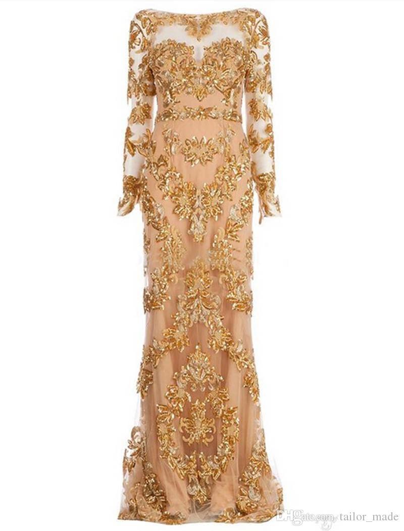 高首の長いイブニングドレスのアップリケ男性の床の長さの長袖のフォーマルなプロムのガウン送料無料