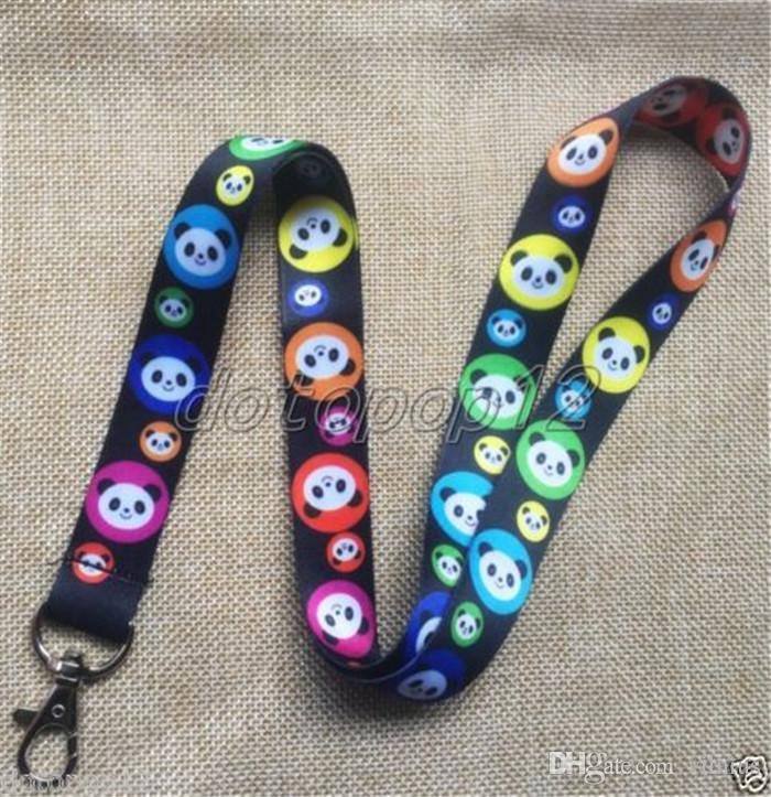 New 30Pcs Popular Cartoon Panda Head Multicolor Lanyards Cell Phone PDA Key ID Strap Charms Free Shipping