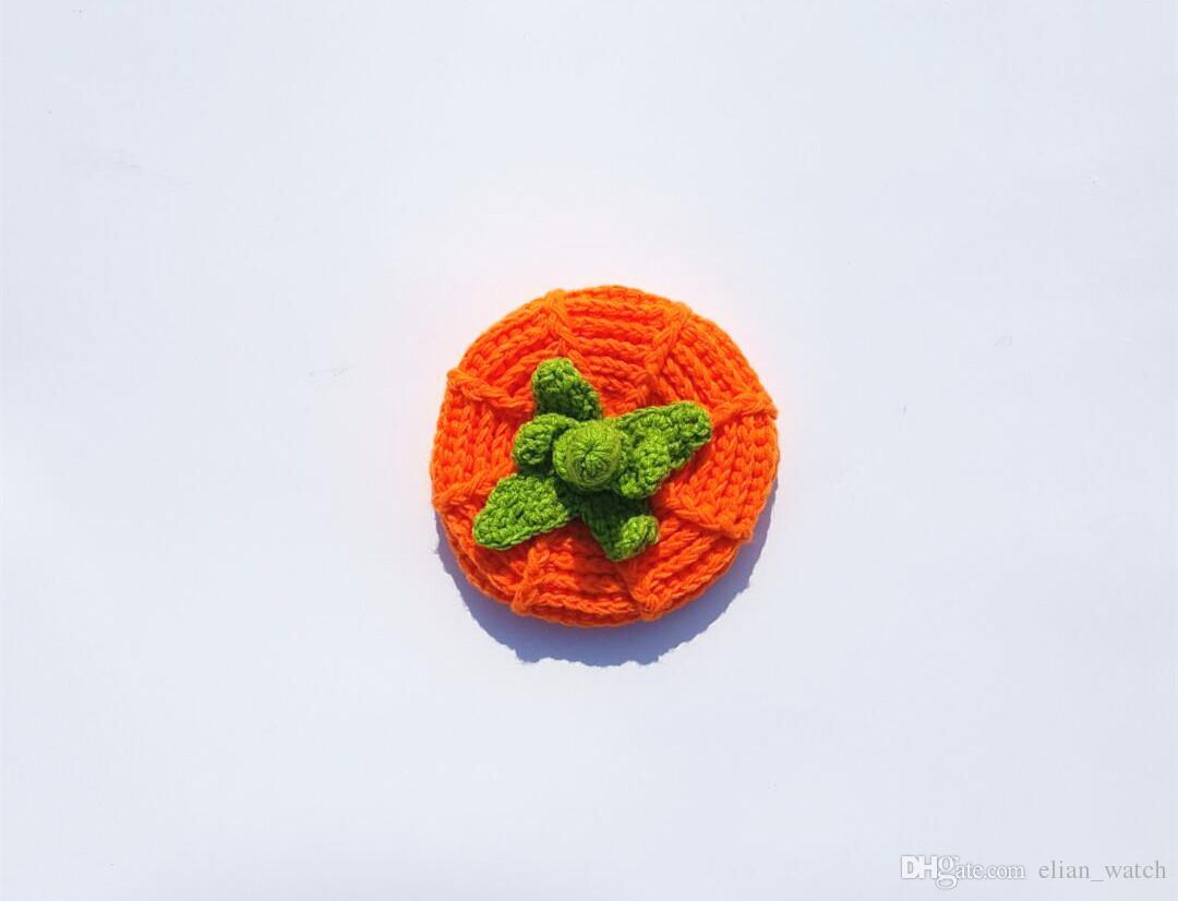 2017 Baby Pumpkin Hat Photography Photo Props Handmade Boy Girl Beanies Cap Halloween Knitted Cap Children
