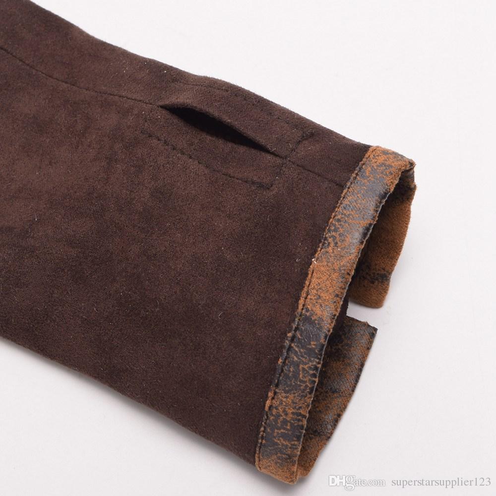 Women Steampunk Lolita Armbands HAND CUFF Vintage Victorian Tie-Up Brown Mittens Gloves Cosplay Accessories New