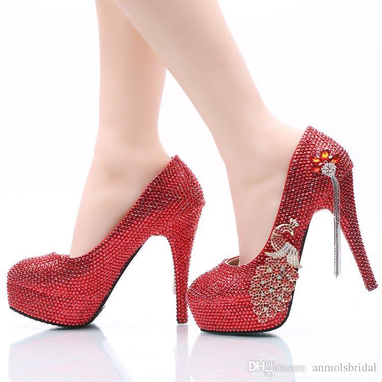 8df5fb1707 Sapatos Via Marte Atacado Vermelho Frisado Cinderela Sapatos Feitos À Mão  Noite Do Baile De Finalistas Sapatos De Salto Alto Pedrinhas Pedrinhas  Nupcial ...