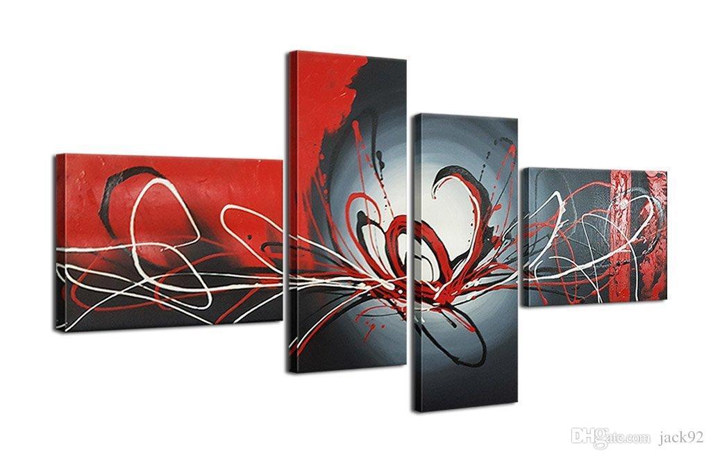 Großhandel Handgemalter Roter Blut Fluss 4 Stück Wand Kunst ...