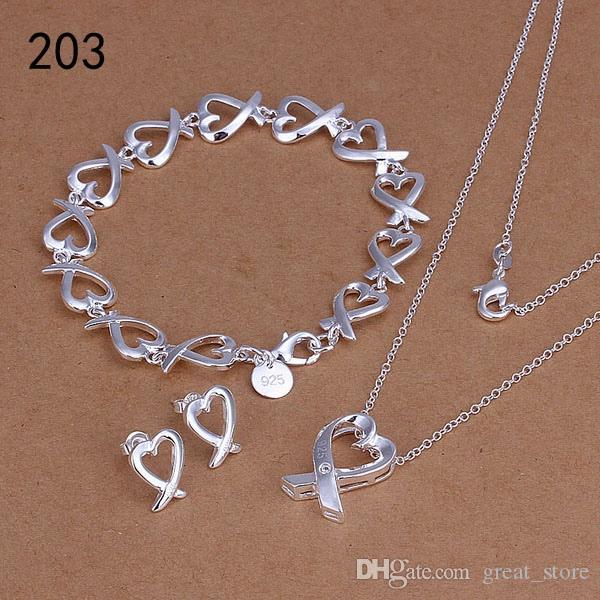 Sıcak kadın 925 gümüş takı aynı fiyat mix tarzı gümüş Gerdanlık Bilezik Küpe Yüzük takı seti GTSleri