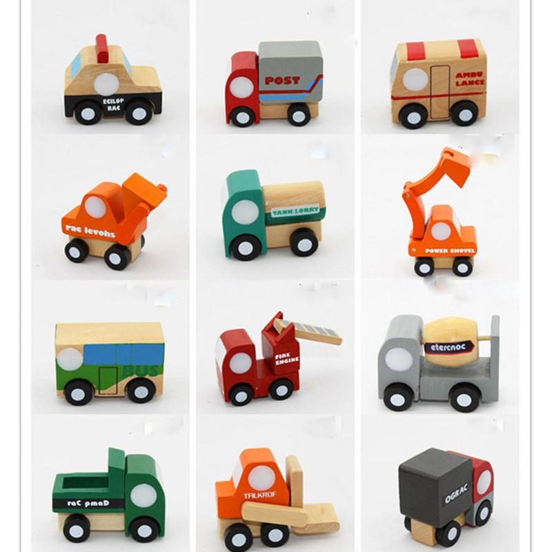12pcs/lot Mini wooden car/airplane Educational Soft Montessori wooden toys for children with gift box birthday present for boys XT