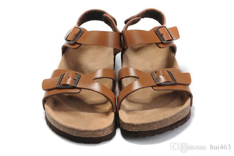 949c516e5d7a09 Famous Brand Arizona Flat Sandals Men Women Shoes Female Double Buckle  Classics Gladiator Slipper Genuine Leather Slippers With Orignal Box Wedge  Shoes ...