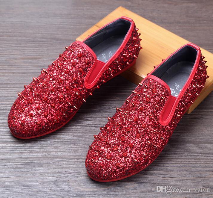Men Brand Designer Shoes Glittering Sequins Tudded Rivet Spike Loafer Shoe  For Male Dress Wedding Shoes Sapato Social Masculino Moccasins Nude Shoes  Womens ... 0dcf628df136
