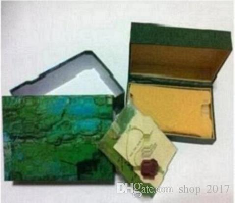 Ücretsiz kargo Lüks İzle Mens Için rolex İzle Kutusu Orijinal İç Dış Kadının Saatler Kutuları Erkekler Kol Yeşil kutu kitapçık kart