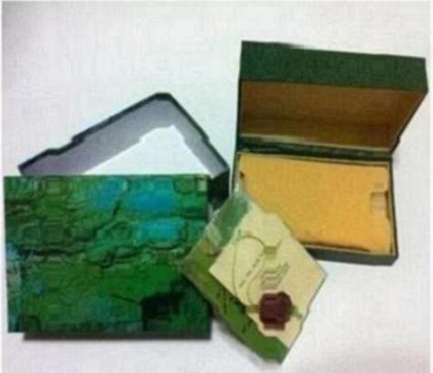 Livraison gratuite montre de luxe hommes pour boîte de montre originale originale intérieure Womans montres boîtes hommes montre-bracelet boîte verte livret carte 802